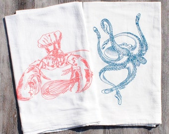 Kitchen Tea Towel Set of 2 - Screen Printed Cotton - Coral Lobster Teal Octopus Kitchen Towels - Washable Reusable Nautical Dish Towels