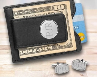 Personalized Money Clip and cufflinks set - Personalized Leather Wallet & Monogrammed Cuff Links - Gifts for Him - Gifts for Dad - 1365 1370