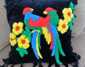 Vintage Black Velvet Throw Pillow - Colorful Bird And Flower Needle Punch Design - Hand Made - Down Filled - Cottage Decor