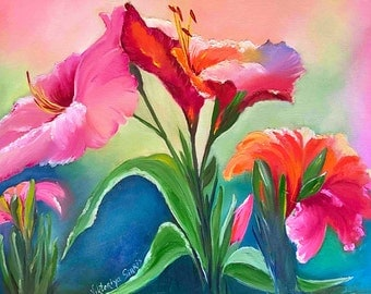 Oil pallet knife canvas painting Tropical Attraction wall home living decor oil floral art hibiscus tropical lily art floral art print