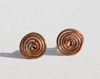 Copper Whorl Stud Earrings