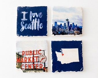 Seattle Washington photography Public Market Center Space Needle downtown marble tile coasters set of 4 MADE TO ORDER