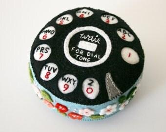 vintage 1930's style telephone dial felt pincushion, wool felt, hand embroidered