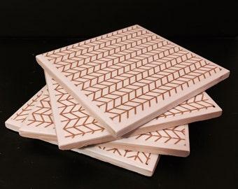Limited Edition Gold & White Herringbone Tile Coaster Set