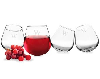 Personalized 12 oz. Tipsy Wine Glasses (Set of 4)