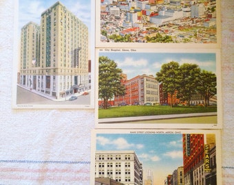 1930's Akron Ohio Lot of 4 Linen Postcards unused And in excellent condition