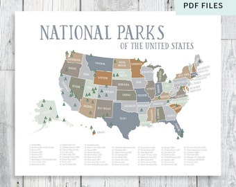 New National Parks Of The US Map NurseryKids Printable - Us national parks map pdf