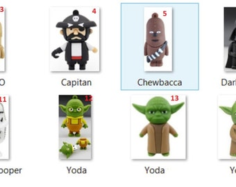 Pendrive USB 8GB Cle: Star Wars BB-8, Boba Fett, C3-PO, Chewbacca, Darth Vader, Darth Maul, R2-D2, Shadow Trooper, Storm Trooper, Yoda