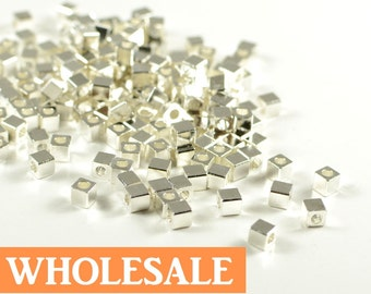 3mm Silver Cube WHOLESALE, metal square spacer beads, smooth edge, strling silver electroplated beads - 200 pcs/ pkg