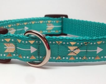 Teal and Gold Arrows and Triangles Dog Collar Adjustable Quick Release - small and medium 3/4 inch wide