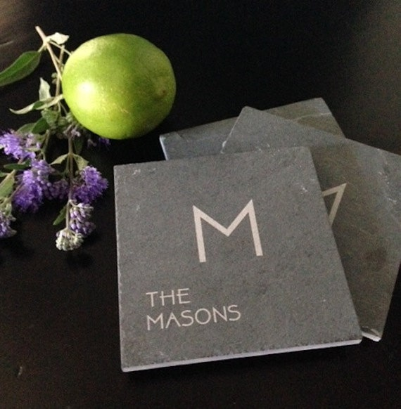 Personalized Slate Coasters - Realtor Closing Gift, Personalized Engagement Gift, Personalized Wedding Gift