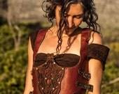 Red Leather Steampunk Design Handmade Female Waistcoat
