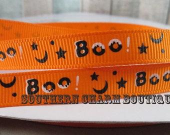 "3 yards of 3/8"" Orange BOO grosgrain ribbon"