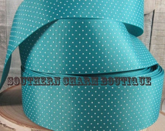 "3 yards of 1 1/2"" teal Swiss dot grosgrain ribbon"