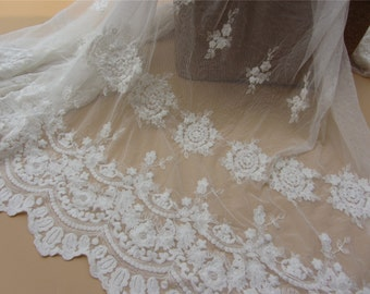 DIY cotton embroidery  Lace fabric online store flower embroidered lace trim DIY material-130cm width