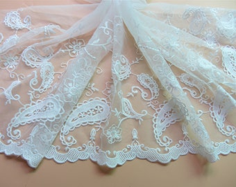 Paisley lace trim,white wedding lace ribbon ,embroidery trimming