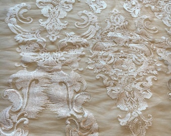 """Embroidery lace in nude mesh base  ,1yard*51"""" white lace, wedding lace fabric /floral embroidery lace fabric,white dress lace"""