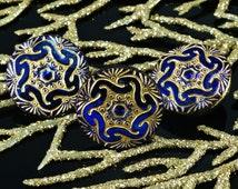 Handmade Czech Glass Shiny Dark Blue Matte Gold Hexagon Flower Buttons Size 8, 18mm 1pc