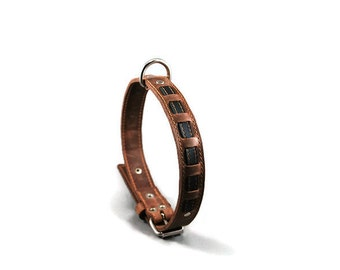 Rouxie leather dog collar, 100% leather, with stitching and decorative black leather stripe showing through.
