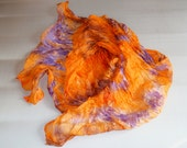 """scarf hand painted, scarf orange purple, scarf Falten, hand-painted silk, size 68 """" by 35 """" (175cm by 90cm) orang scarf silk gift for womans"""