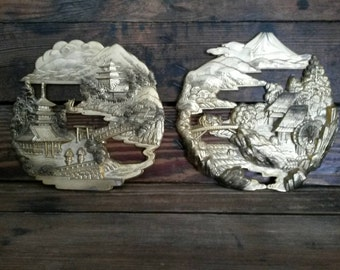 Brass Asian Landscape Scenes S/2