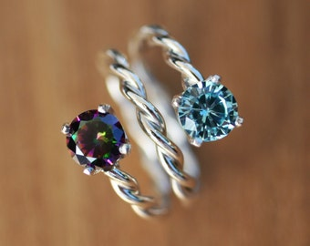 TWISTED SOLID SILVER * Your Choice of Birthstones * Mother's Ring * Lover's Ring * Friendship Ring * Sister's Ring * Coiled Band * Two Gems