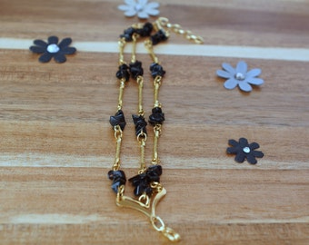 Black Onyx Bracelet, Multistrand bracelet, Golden Grass Bracelet, Gold Filled Jewelry, Eco Friendly