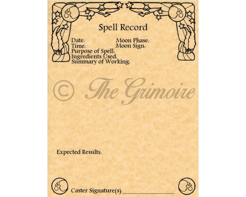 10 Spell Record Worksheets Book of Shadows Pages Wicca