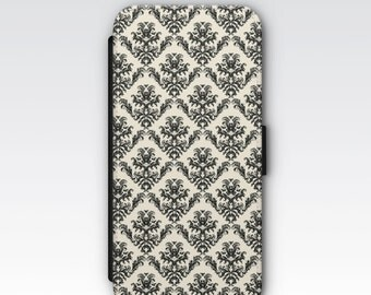 Wallet Case for iPhone 8 Plus, iPhone 8, iPhone 7 Plus, iPhone 7, iPhone 6, iPhone 6s, iPhone 5/5s -  Black and Cream Damask phone case