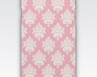Case for iPhone 8, iPhone 6s,  iPhone 6 Plus,  iPhone 5s,  iPhone SE,  iPhone 5c,  iPhone 7  - Pink and White Damask iPhone