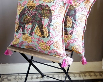 Pink batik cushion with elephant