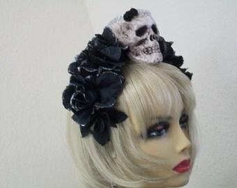 Day of the Dead, Frida Kahlo, All Souls Day, Rose Flower Crown, Dia de los Muertos headband, Fiesta Headpiece, Sugar Skull Crown, Halloween