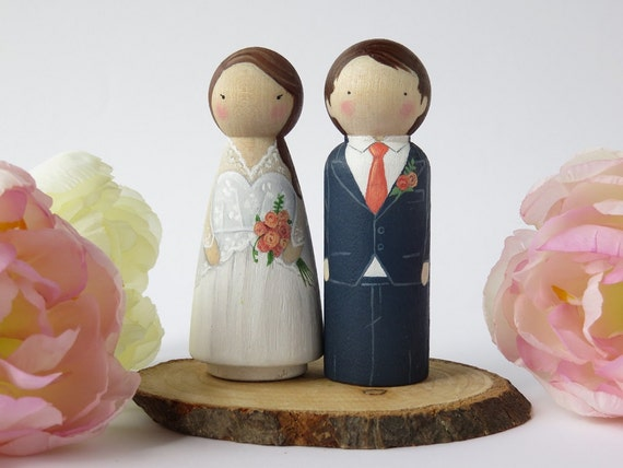 wedding cake toppers wooden dolls wedding cake toppers peg dolls custom wedding cake toppers 26642
