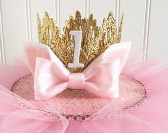 Pale Pink + White || Gold Kitty Lace Crown Headband || Birthday Crown || All Ages