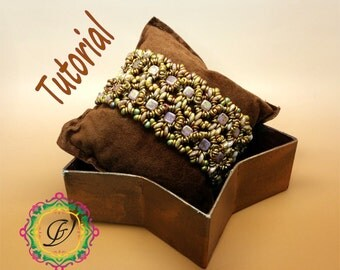 Tutorial to create a Tanit bracelet with Tile Beads, O Beads, Lentil, Rulla and Seed Beads. Weaving Beads