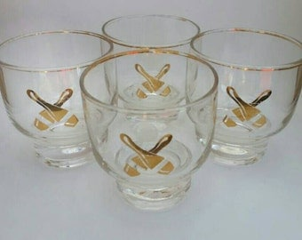 Vintage Set of Four Bowling Glasses