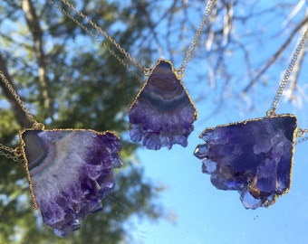 Amethyst Triangle Geode Slice Gold Plated Pendant Necklace on a 14K Gold Filled Chain - 30 inches