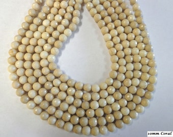 Beautiful 10m Faceted Bamboo  Beige Coral.!!!!!