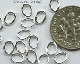 Oval Jump Rings, Medium Size Oval Jumprings, 20 Guage, TierraCast, Jewelry Findings, Silver Plated, 100 to 500 Pieces, 1801