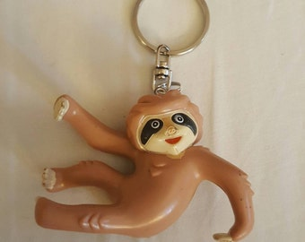 SLOTH handmade keychain, zipper pull, diaper bag, backpack buddy, gym bag, car mirror, vintage toy