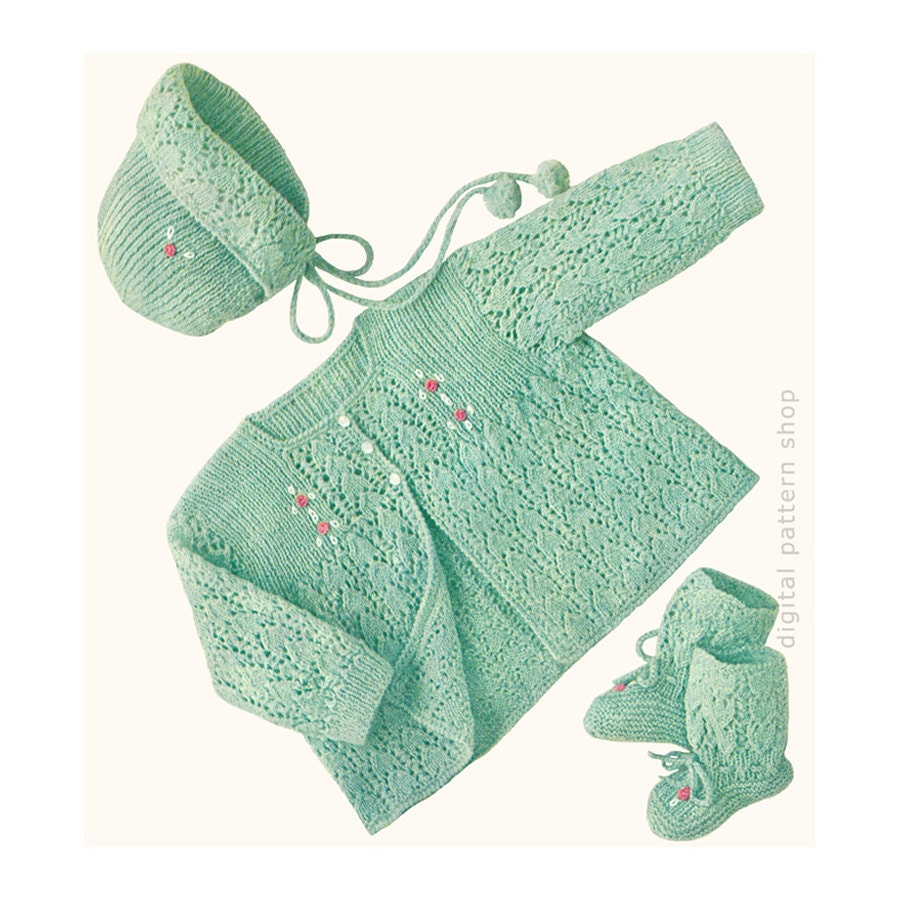 Vintage Baby Knitting Pattern Lacy Sweater Bonnet Amp Booties