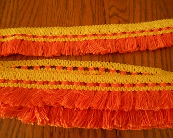 Orange and Yellow Hippy Trim, Mod Squad Delightful Boho Trim, Sew on Your Groovy Clothes, 10 Yards of 1960 Awesomeness, 60's Swinging Trim!