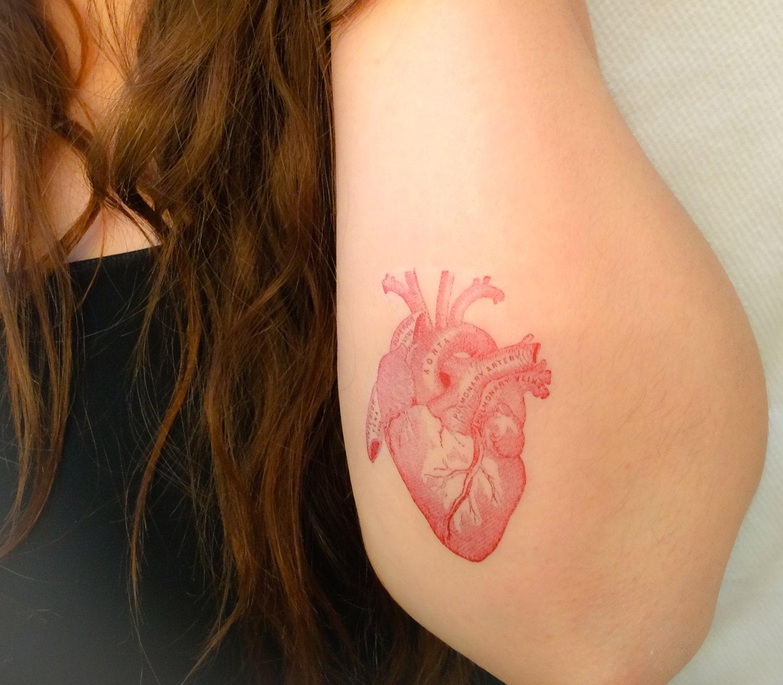 2 anatomical heart temporary tattoos smashtat for Heart henna tattoo