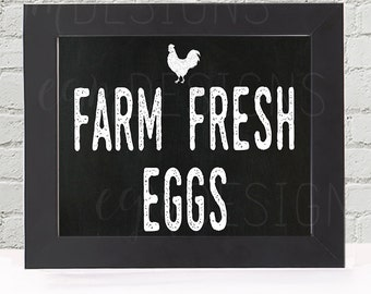 Farm Fresh Eggs Chalkboard Kitchen Art Printable, Chicken, wall decor print, digital wall art, kitchen wall art, kitchen decor, 3 sizes