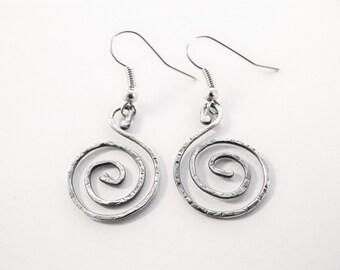 Sterling Silver Spiral Earrings - Nickel Free Stainless Steel Hypoallergenic Earwires - Hammered Texture Earrings - 925 - Dangle Earrings