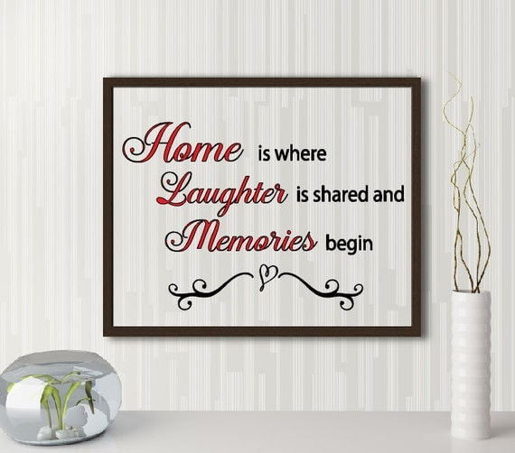 Home is where laughter is shared and memories begin quote, Floating frame home quote, Entry way frame, Welcome sign, Family sign, Memories