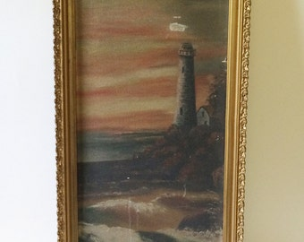 Vintage Lighthouse Painting in Gold Frame