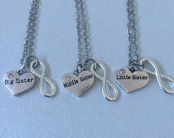 Always Sisters - Big Sister, Middle Sister & Little Sister necklace