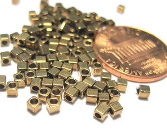 100pcs Tiny Brass Cube Spacer Beads 2mm