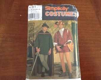 Simplicity pattern 7761 Renaissance  costumes  men size XS-S-M-L XL